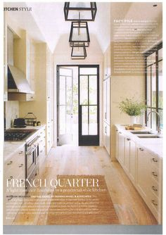 French galley kitchen by Thomas Hamel. Imagine one half of a galley kitchen being counters and windows -- no cupboards to hem you in! Kitchen Interior, New Kitchen, Kitchen Decor, Long Kitchen, French Kitchen, Interior Door, Design Kitchen, Kitchen Colors, Galley Kitchens