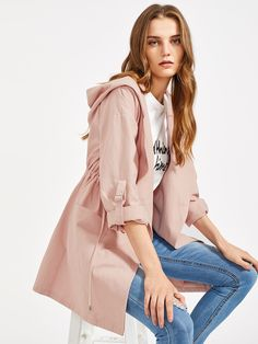 Shop Drawstring Waist Roll-Up Sleeve Hooded Coat online. SheIn offers  Drawstring Waist Roll-Up Sleeve Hooded Coat   more to fit your fashionable  needs. 7b615b1e621c