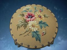 Antique Needlepoint Footstool Slipper Stool Victorian