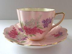 Pink Old Royal China Tea Cup & Saucer Teacup Duo