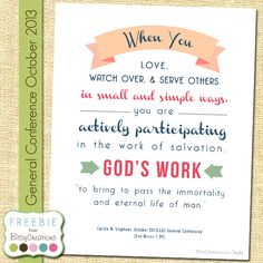 Carole M. Stephens Printable Freebie October 2013 General Conference by BitsyCreations #LDSCONF