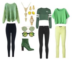 """""""Peridot aesthetic"""" by gravitywillfall ❤ liked on Polyvore featuring Miss Selfridge, Acne Studios, Gucci, Kevin Jewelers, Marni, Kate Spade, Rolex, Topshop, J Brand and women's clothing"""