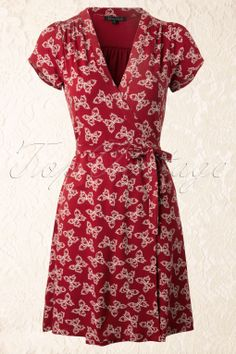 King Louie - 40s Morpho Wrap Dress in Port Red with Butterflies
