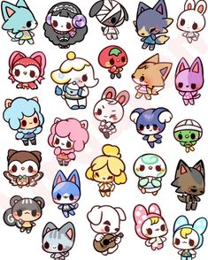 i really want to make some enamel pins, so please comment below which villagers you want to see most! sticker sheets will… Animal Crossing Fan Art, Animal Crossing Memes, Animal Crossing Villagers, Animal Crossing Pocket Camp, Cute Drawings, Animal Drawings, Stickers Kawaii, Cute Kawaii Animals, Kawaii Illustration