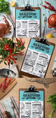 Seafood Menu Template EPS, PSD A4