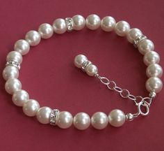 Bridal jewelry pearl bracelet Swarovski Crystal by KGarnerDesigns, $29.00