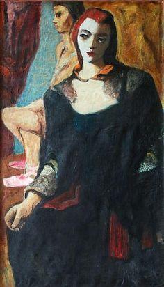 Josef Liesler (1912-2005) - Sitting woman - oil, canvas - 1940  | Auction.fr