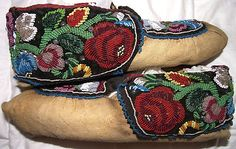 beautiful! Comment: These look Haudenosaunee to me, it's our style of moccasin cut, very floral and very richly filled in.