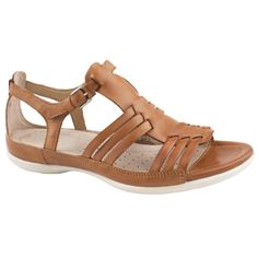 204435323565f Ladies Ecco Flash 240743 Brown - Beige Casual Sandals Size 9