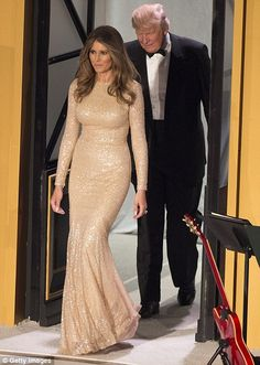 589dbe2fd84 Karen Butler Incoming first lady Melania Trump wore a sparkly Reem Acra  gold gown at a candlelight dinner to thank donors in Washington