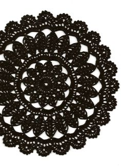 Crochet doily, lace doily, table decoration, crocheted place mat, doily tablecloth, table runner, napkin, Black
