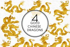 Gold Chinese Dragons by Kaazuclip on Creative Market Dragon Skin, Chinese Dragon, Overlays, Dragons, How To Draw Hands, Objects, Creative, Gold, Art