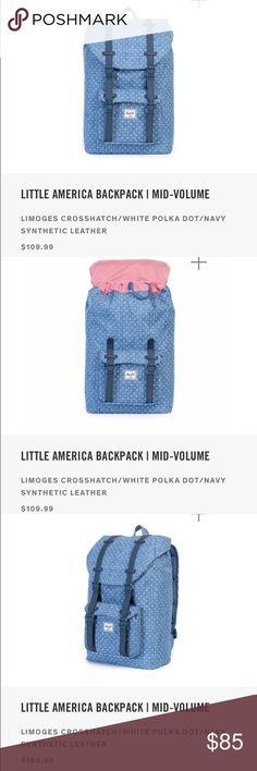 "NWT Herschel Little America Mid Level Backpack The Herschel Little America™ Mid-Volume backpack is inspired by classic mountaineering style and constructed with modern functionality in mind.  Signature striped fabric liner Padded and fleece lined 13"""" laptop sleeve Magnetic strap closures with metal pin clips Main compartment cinch top closure Front pocket with hidden zipper and key clip Internal media pocket with headphone port Ventilated air mesh back padding Contoured shoulder straps…"