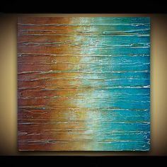Original Abstract Painting - TEXTURED Original Abstract Art - Shades of Turquoise Brown Rust Green Amber Gold - by Marie Bretz