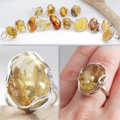 Rings made of Baltic Amber. For sale.   On myamber.eu