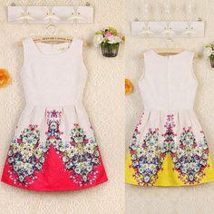 Womens Round Neck Sleeveless Back Zip Floral Print Elegant Princess Short Dress