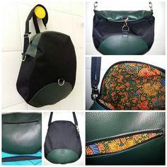 Sac à dos transformable Limbo cousu par Chantal en simili vert et toile à sac noire doublure batik - patron couture Sacôtin