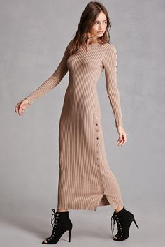A heavyweight ribbed knit maxi dress featuring long sleeves with snap-buttons down the side, a round neckline, snap-buttons partially down one side, and a bodycon silhouette. This is an independent brand and not a Forever 21 branded item.