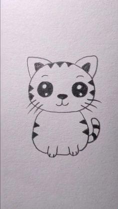 Easy Doodles Drawings, Easy Cartoon Drawings, Easy Drawings For Kids, Art Drawings Sketches Simple, Animal Drawings, Kitty Drawing, Easy Cat Drawing, Hand Art Kids, Simple Cartoon