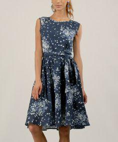 Blue Abstract Floral Tie-Waist Sleeveless Dress by Kushi by Jasko #zulily #zulilyfinds