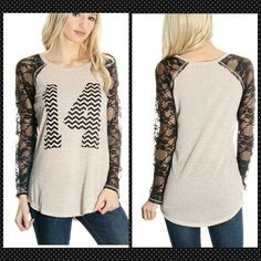Lace sleeve varsity shirt in linen blend size M Last One!!  Black and oatmeal size M NO TRADES  Price firm unless bundled Boutique  Tops Tees - Long Sleeve