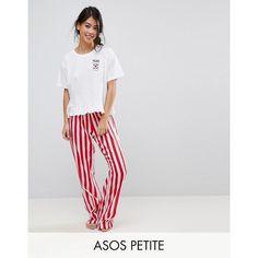 ASOS PETITE Embroidered Espresso Yourself Trouser and Tee Pyjama Set ($42) ❤ liked on Polyvore featuring intimates, sleepwear, pajamas, short pjs, asos pyjamas, petite pyjamas, short sleeve pajama set and petite pajamas