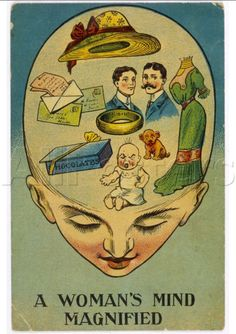 A Woman's Mind Magnified. Anti Suffrage Poster of Patricia Leeming (L. Tickner 'The Spectacle of Women Darwin Awards, Anti Suffrage, Arte Horror, Old Cartoons, Look Vintage, Old Ads, Art Graphique, Vintage Advertisements, Funny Vintage Ads