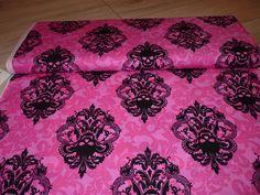 Stoff Ornamente - Michael Miller US Ornament Goth Damask pink schwar - ein Designerstück von Bibo-Laedchen bei DaWanda