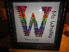 Teacher Gift Personalized Rainbow Crayon Letter Art - Letter W