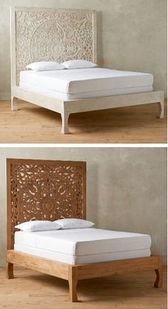 White wash hand carved wooden queen bed headboard by for Queen bed against wall