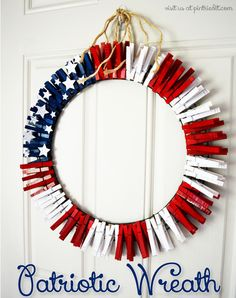 Put clothespins to good use by turning them into an adorable wreath that looks like the American flag.