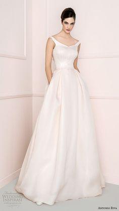 antonio riva 2016 bridal strap v neckline blush a line wedding dress with pockets crudelia