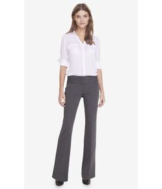 EXPRESS Womens Studio Stretch Wide Waistband Flare Editor Pant Gray 6