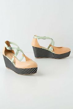 Love the delicate colors mixed with polka dots! [Dotted Heights Wedges #anthropologie]
