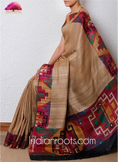 Beige ghicha & tussar silk handloom saree