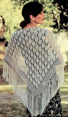 Offering a vintage PDF crochet pattern to make a pretty, retro lacy Pine Cone motif cluster stitch shawl! Pattern offers full and complete instructions to make this pretty project which combines two lacy patterns - a pine cone motif interspersed with chains for the allover