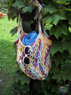 No Droop Cotton Beach Bag over the Rainbow by karenswimmer on Etsy, $25.00