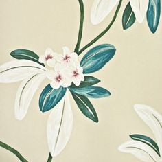 Oleander Floral Wallpaper Contemporary large floral print wallpaper on taupe background, with white teal and orange design (by Sanderson)