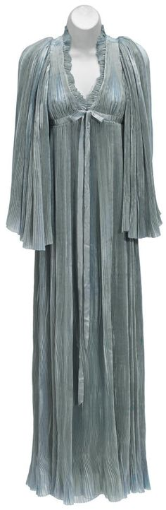 Vivien Leigh negligée from Gone With the Wind Selznick International Pictures, Ankle-length pale blue accordion-pleated silk negligée with angel sleeves, hook-and-eye closure at the bodice with blue satin ribbon detail.