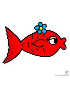 Disegno di Pesciolino Rosso a colori per bambini gratis - disegnidacolorareonline.com