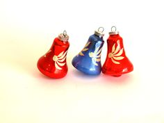 West German Christmas Bells Glass Ornaments - Mid Century Holiday Decorations - Set of Three - Hand Blown - Made in West Germany by FunkyKoala on Etsy