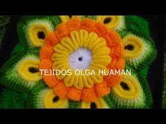 Cuadro Tejido a Crochet # 20 PARTE 1 para Colchas y Cojines - YouTube