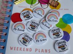 Fun teacher themed badges Rainbow Badge, School Badges, Pet Raccoon, Orange Fish, Best Teacher Ever, Custom Badges, Good Listener, Button Badge, Star Patterns