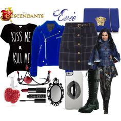 Evie, Daughter of the Evil Queen by fandom-outfitssx on Polyvore featuring Rotten Roach, Marc by Marc Jacobs, Versace, Lipsy, NARS Cosmetics and Disney