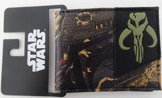 Star Wars Boba Fett Face Closeup Mandalorian Logo Bifold Wallet Nwt #BobaFettStarWars #Bifold
