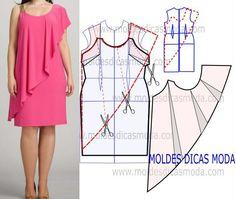 Risultati immagini per moldesedicasmoda Dress Sewing Patterns, Clothing Patterns, Women's Clothing, Fashion Sewing, Diy Fashion, Sewing Clothes, Diy Clothes, Costura Fashion, African Fashion Dresses