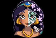 Jasmín caracterizada como La Catrina
