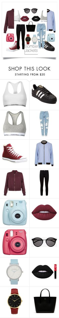 """""""Bomber Jacket"""" by sara-hi23 on Polyvore featuring Calvin Klein, adidas, Topshop, Converse, River Island, New Look, Paige Denim, Fujifilm, Lime Crime and Yves Saint Laurent"""