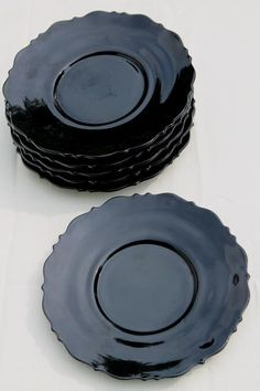 set of 6 vintage black amethyst glass plates, Mt Pleasant LE Smith Mount Pleasant pattern Black Amethyst, Mount Pleasant, Black Glass, Capricorn, Thrift, Vintage Black, Depression, Design Inspiration, White Gold