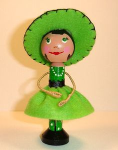 Clothespin doll handmade wooden dollLinda by VickysHeart on Etsy..Linda is a clothespin doll . She has an adorable green dress and a wide brim hat . She stands 4 1/2 inches tall . This item is not for small children ..